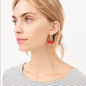 NWTO J. Crew Cherries Dangle Earrings Gold and Red